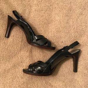 Ann Taylor Black Open Toe Slingback Heels